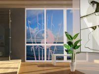 Glasfolie | Fensterdekor Bambus mit Symbol | Bambus-Symbol-Design