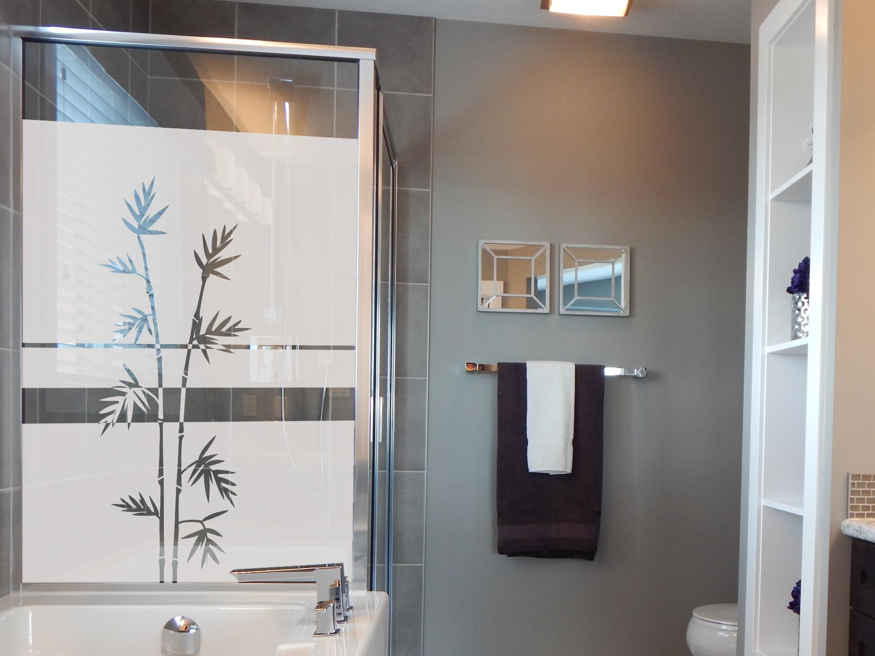 Sichtschutzfolie   Fensterfolie Bambuszweige   Bambuszweigeoptik