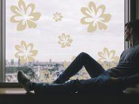 Fensterfolie | Glasaufkleber Blüten | Blütenornament
