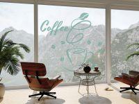 Fensterdekoraufkleber | Glassticker Kaffeekuss | Kaffeekussoptik