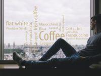 Fensterfolie | Aufkleber Kaffee-Wortwolke | Kaffeewortwolkendesign